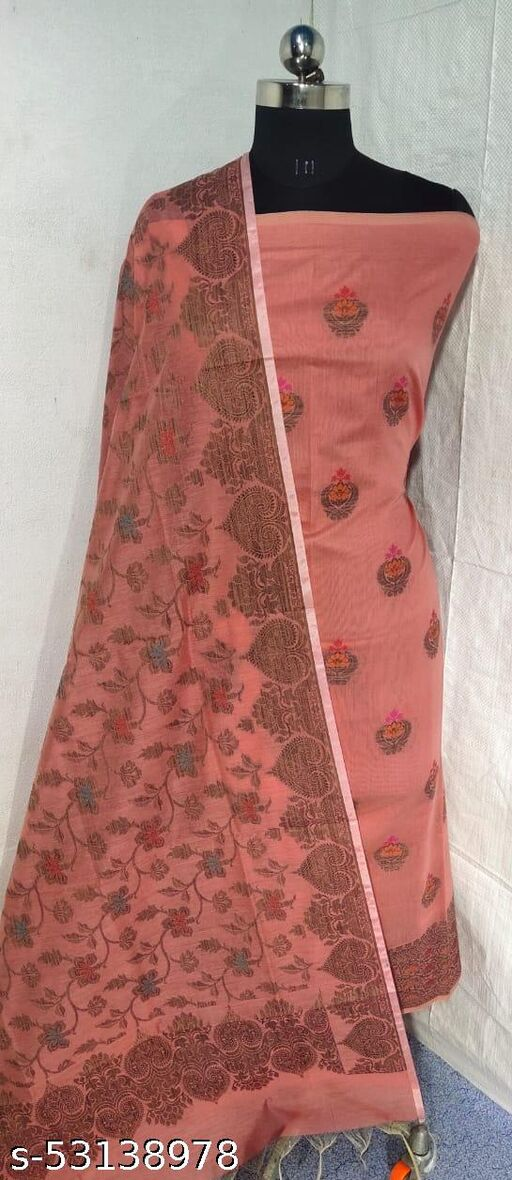 (S17Peach) Weddings Special Banarsi Handloom Cotton Suit And Dress Material