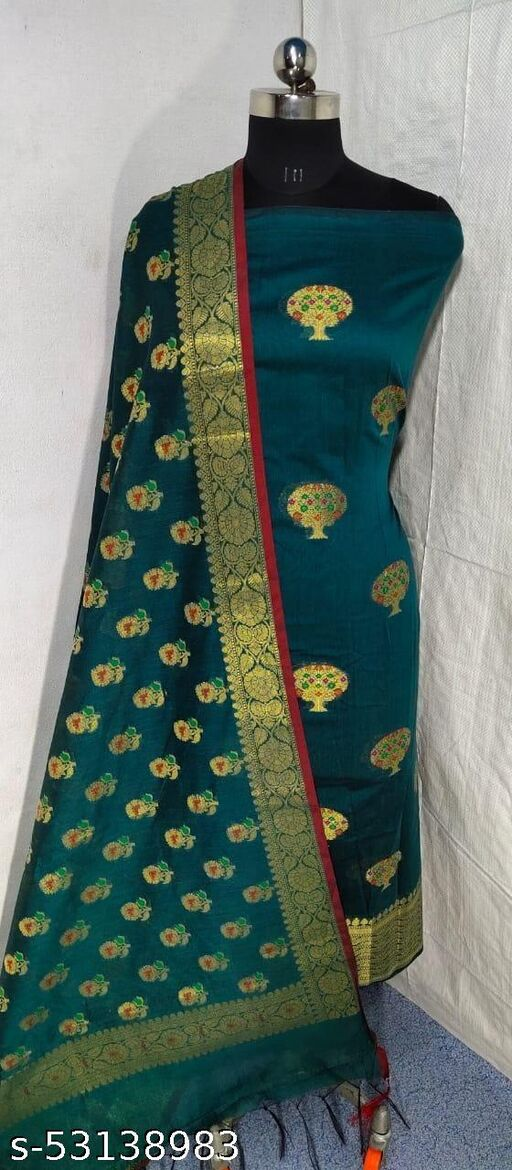 (S14Green) Weddings Special Banarsi Handloom Cotton Suit And Dress Material