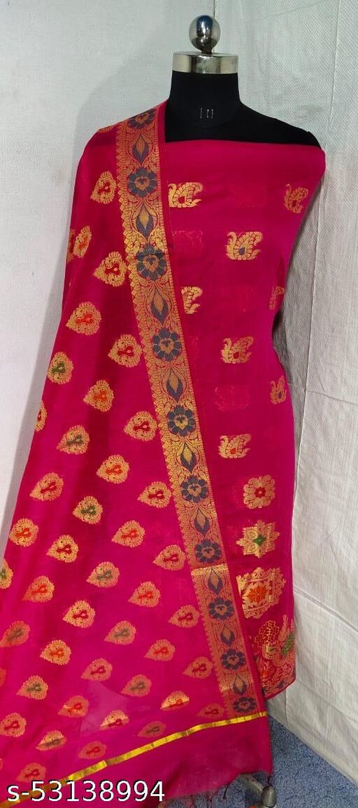 (S18Pink) Weddings Special Banarsi Handloom Cotton Suit And Dress Material