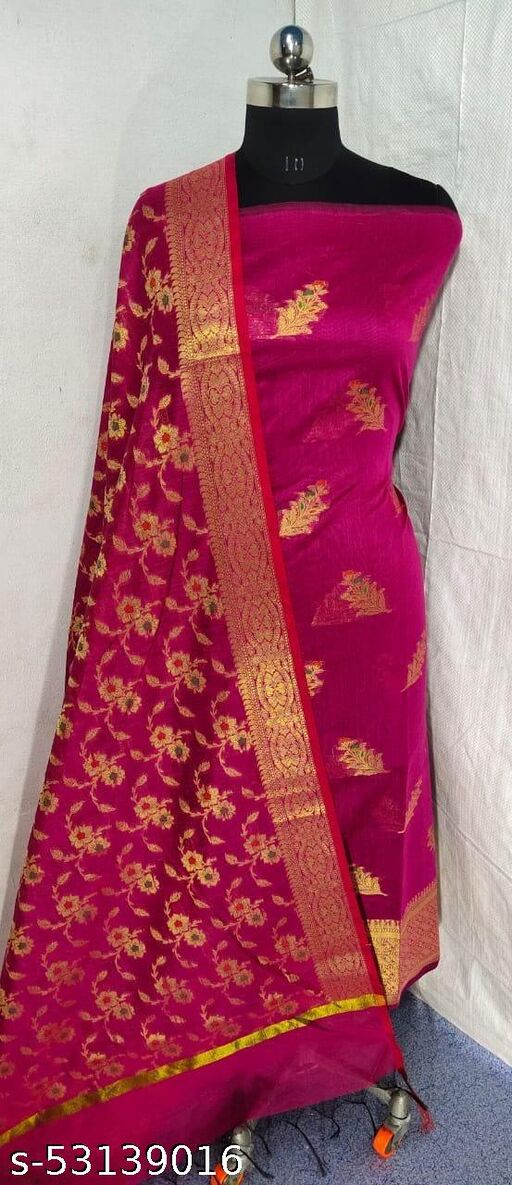 (S20Pink) Weddings Special Banarsi Handloom Cotton Suit And Dress Material