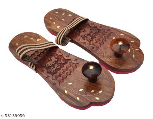 Wooden Unisex slipper | wooden Flip flop | Wooden carved stylish Khadau with rubber sole | Wooden Charan paduka