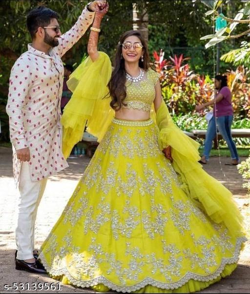 Wedding lehengas yellow colletion of latest design 2021 (pihu lehenga collection)LC 17