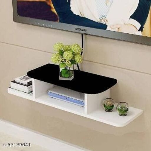 Addister Set Top Box Holder/Stand with unique sadan style Wall Shelf For Home and office Decoration (Black + White)