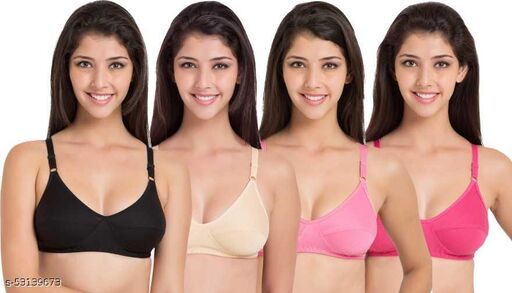 Special combo of 4 Multicolor Bra made of cotton Hoseiry.Features : Non Padded,Wirefree,Seamless,full Coverage,Soft Cup,Regular Straps & Solid/Plain Pattren.