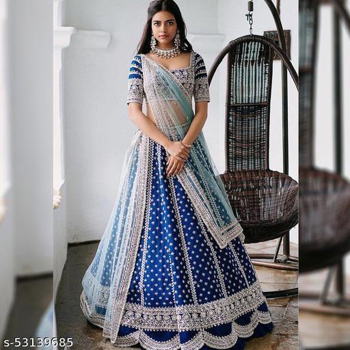 blue party wear lehengas colletion of latest design 2021 (pihu lehengas colletion)LC 180