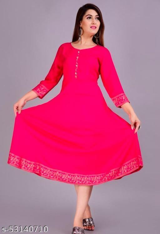 Fariya Women Rayon Solid A-Line & Gold Print Kurta(Pink)