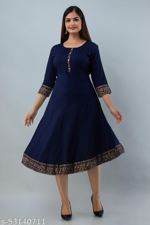 Fariya Women Rayon Solid A-Line & Gold Print Kurta(Navy Blue)