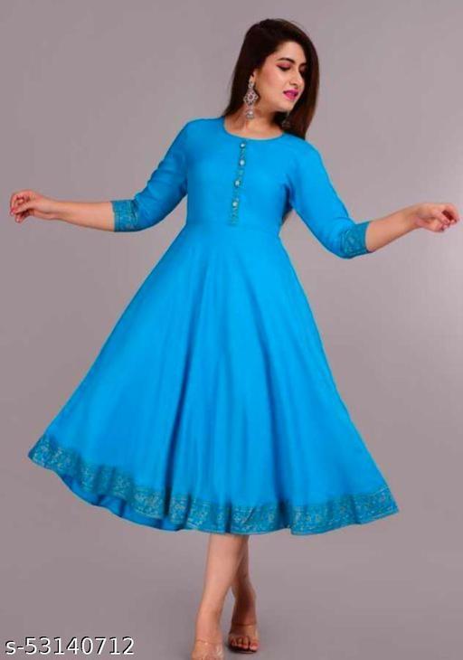 Fariya Women Rayon Solid A-Line & Gold Print Kurta(Blue)