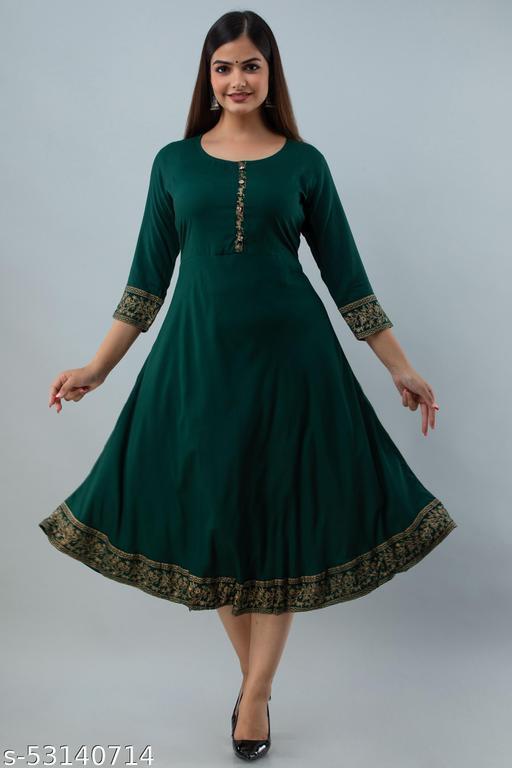Fariya Women Rayon Solid A-Line & Gold Print Kurta(Bottle Green)