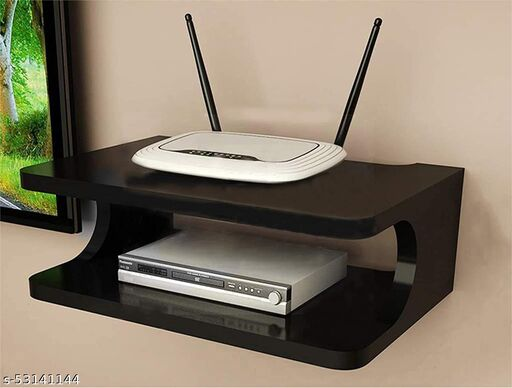 Addister D shape fancy Set Top Box/ WiFi / Modem Stand for office and home decoration (Black)