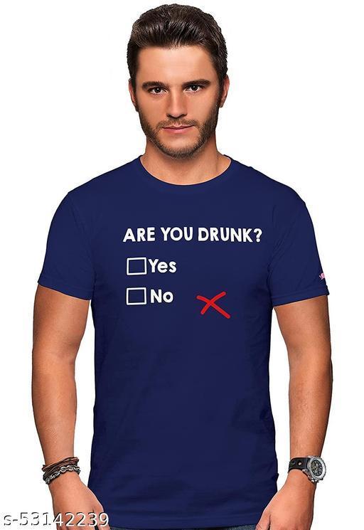 ARE you drunk  Round Neck White Cotton Tshirt
