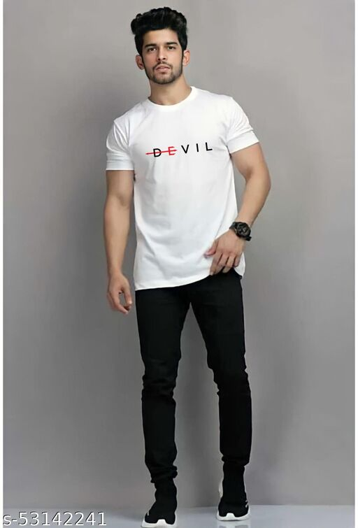 Devil  Round Neck White Cotton Tshirt