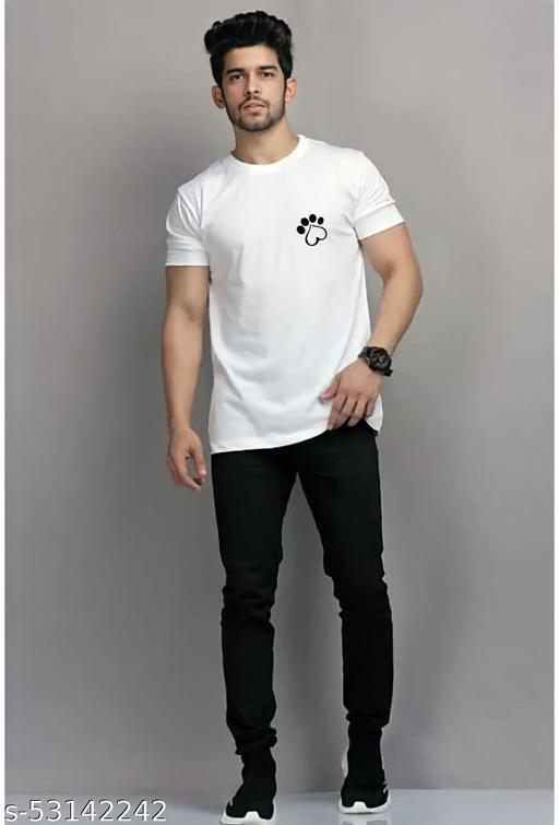 Paw  Round Neck White Cotton Tshirt