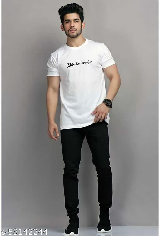 Believe  Round Neck White Cotton Tshirt