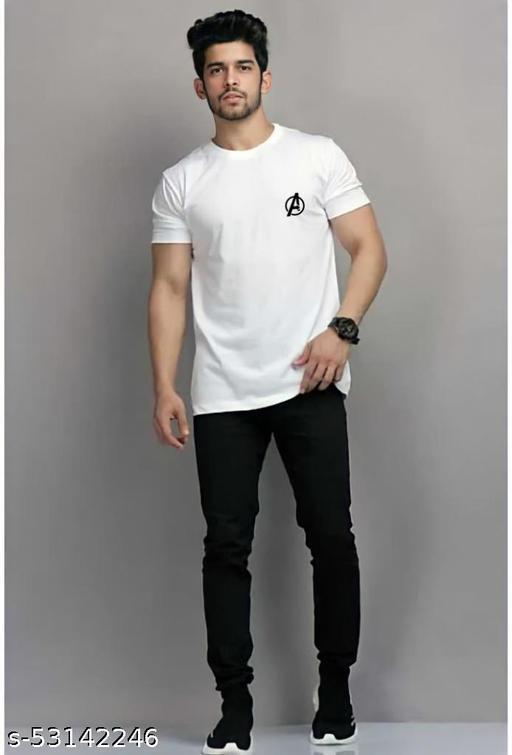 Avenger  Round Neck White Cotton Tshirt