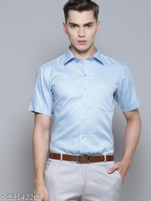 Dennison Men's Light Blue Smart Slim Fit Solid Formal Shirt