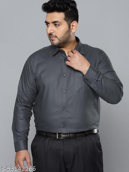 Dennison Men Dark Grey Smart Slim Fit Pure Cotton Solid Formal Shirt