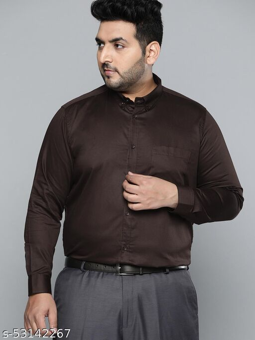 Dennison Men Dark Brown Smart Slim Fit Pure Cotton Solid Formal Shirt