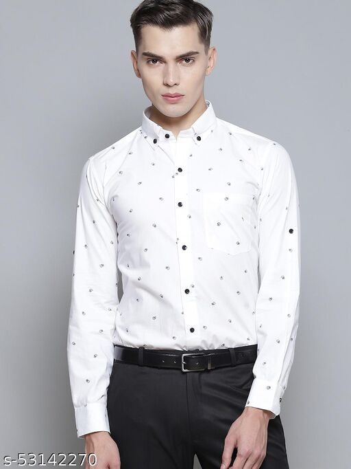 Dennison Men's White Smart Slim Fit Printed Formal Shirt