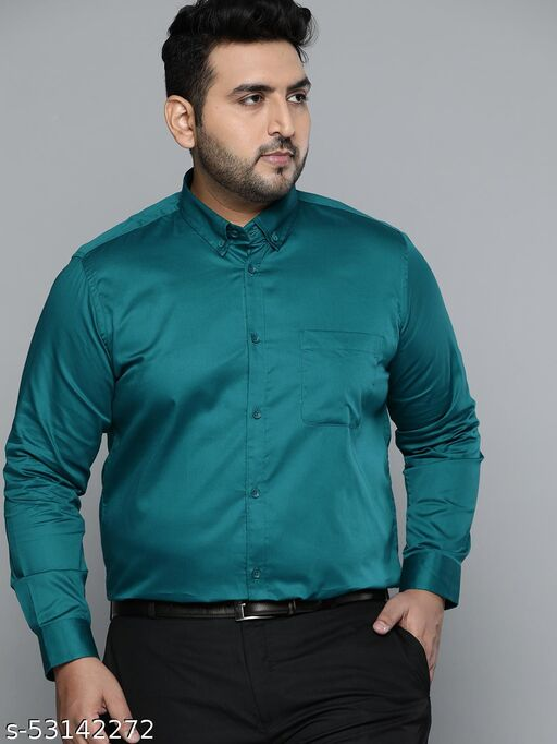 Dennison Men Green Smart Slim Fit Pure Cotton Solid Formal Shirt