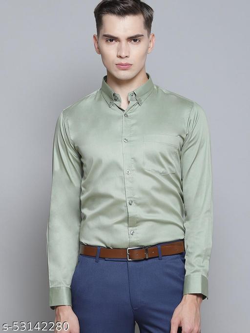 Dennison Men's Olive Solid Formal Slim fit Shirt