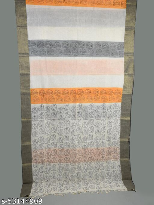 SRiSHTi's Exclusive Zari Border Brush Work Pure Cotton Bengal Handloom Saree Without Blouse Piece (Cream)