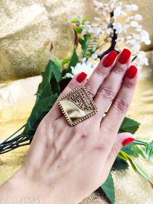 STUNNING GOLD MIRROR OXIDIZED ADJUSTABLE RING FOR ANY OCCASION