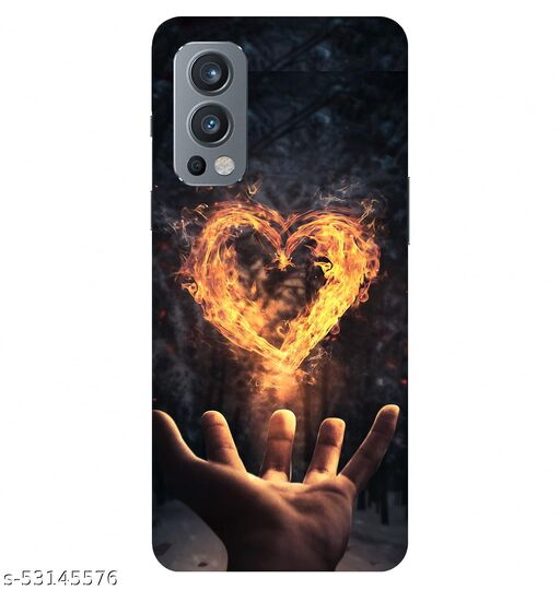 CreativeSoul ''Hand with Fire Heart'' Printed Hard Back Case For OnePlus Nord 2 5G / 1+Nord 2 5G, Designer Cases & Covers For Your Smartphones