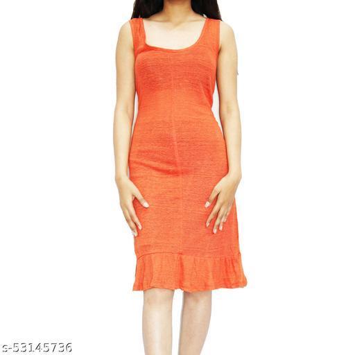 SICHAYA Lycra Blend Orange Bodycon Dress (Size: X-Large)