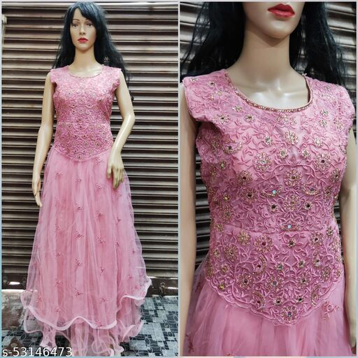 Women's Beautiful Mirror and Stone Work Party, Wedding Wear Gown; Size: 30 to 34 Waist