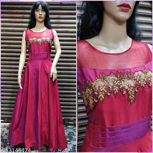 Women's Beautiful Double Shaded beads and Stone Work Party, Wedding Wear Gown; Size: 30 to 34 Waist