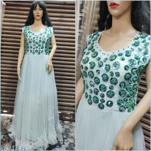Women's Beautiful Sequence Flower Work and Silver dot Work, Party, Wedding Wear Gown; Size: 30 to 36 Waist