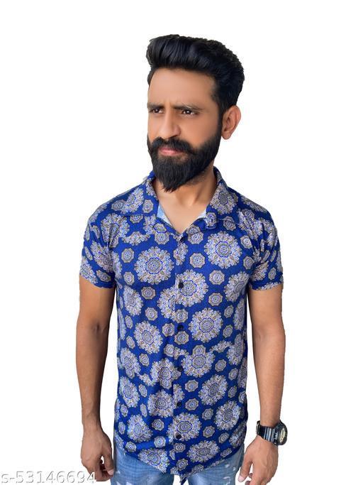 Men Regular Fit Floral Print Spread Collar Casual Shirt