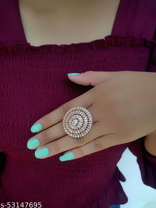 American Diamond Rose Gold Plated Wedding Rings For Women's and Girls