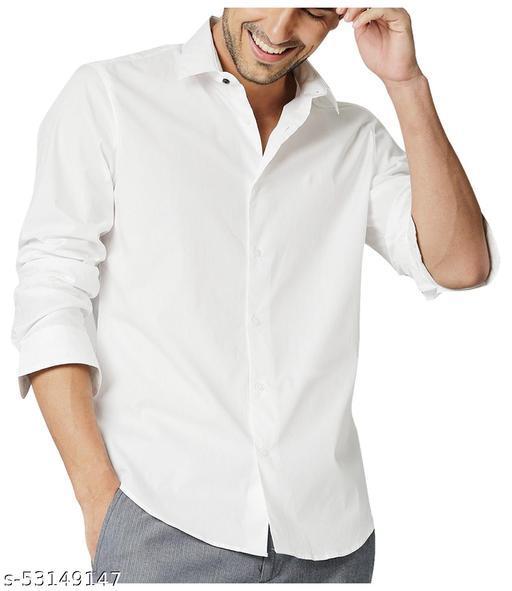 KINGSON Men's Full/Long Sleeves Formal Regular Fit White Cotton Shirt