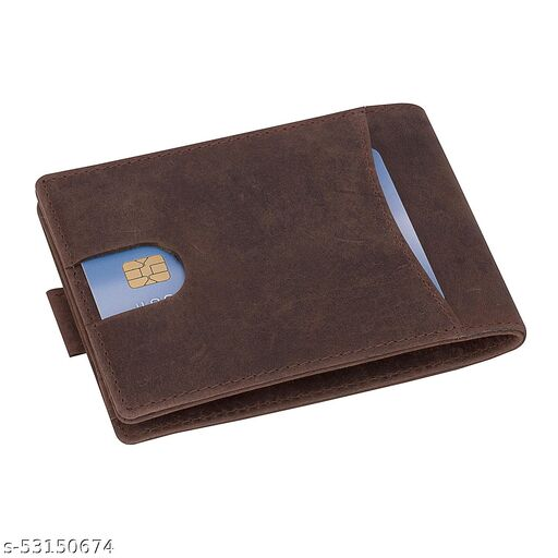 Genuine Distressed Hunter Leather multi Cardholder,1 ID Window, Minimal Pull Tab Design Wallet For Men With RFID Protection.