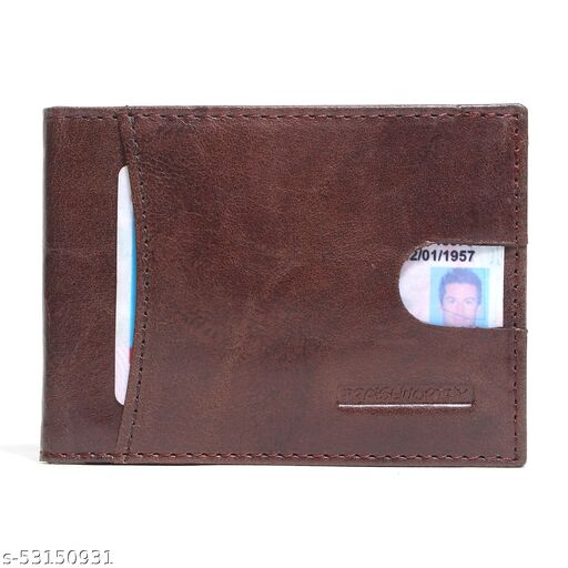 RFID Protected Genuine Crunch Leather Minimalist Wallet With ID Window Convenient Pocket and Puller Tab.