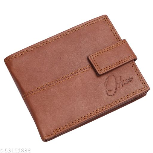 Orkee Genuine Leather Snap Closure Wallet For Men (Tan)