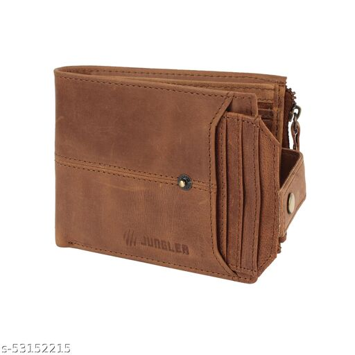 RFID Blocking Real Buff Leather Light Brown Heavy and Bulky Large Double Zipper Wallet. With Inserter Card Holder.