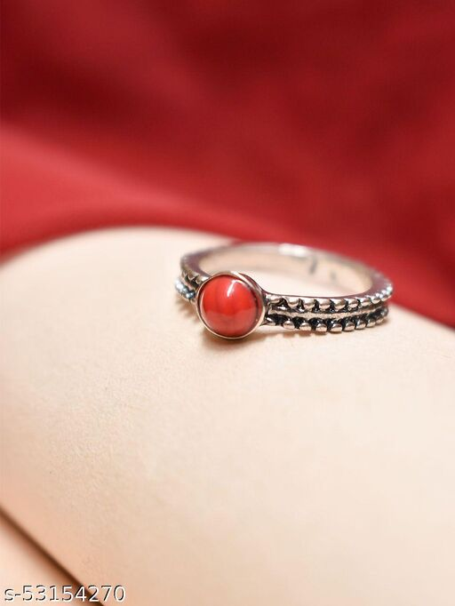 Aana Silver Plated Circular Design Red Color Plastic Stone Finger Ring