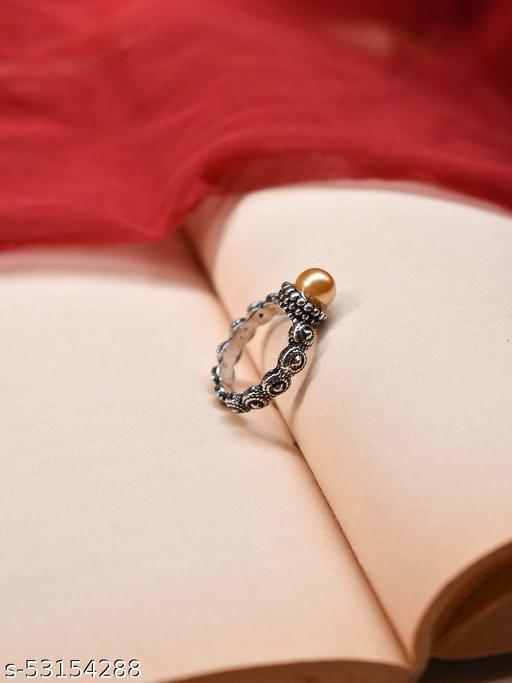 Aana Silver Plated Circular Design Orange Color Plastic Stone Finger Ring