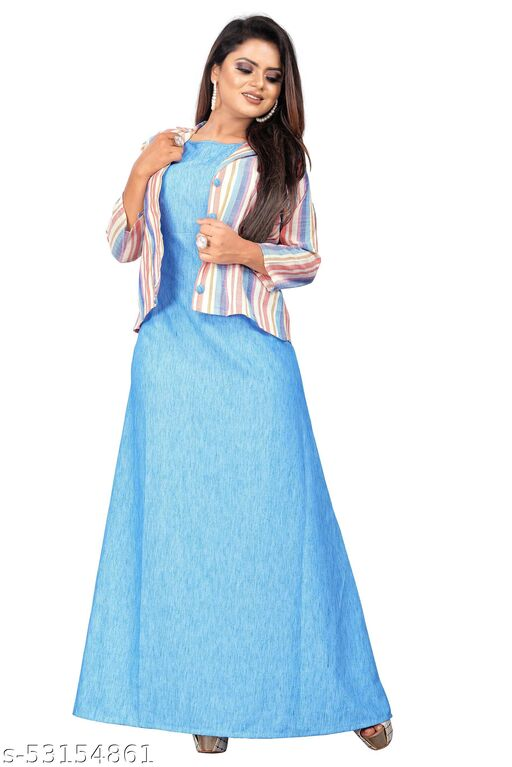 Trendy Women's cotton blend  Gown with jacket