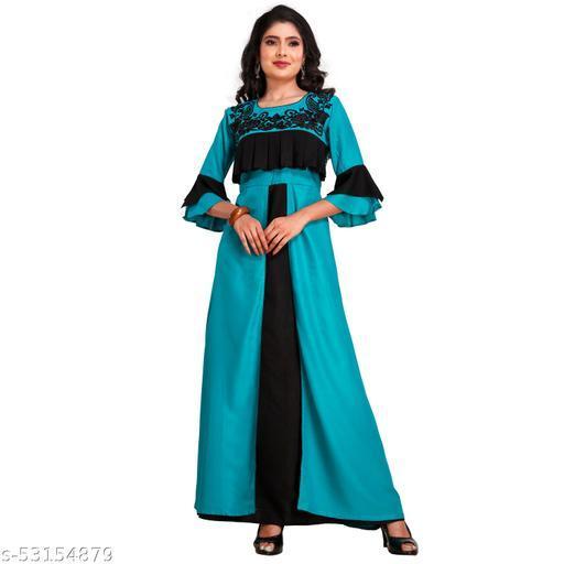 Trendy Women's Taffeta   Long Gown
