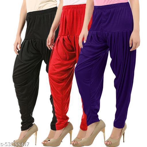 Buy That Trendz Combo Offer Pack of 3 Cotton Viscose Lycra Dhoti Patiyala Salwar Harem Bottoms Pants for Womens Black Red Violet