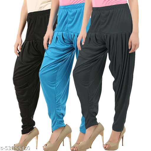 Buy That Trendz Combo Offer Pack of 3 Cotton Viscose Lycra Dhoti Patiyala Salwar Harem Bottoms Pants for Womens Black Turquoise Dark Grey