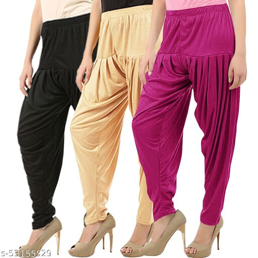Buy That Trendz Combo Offer Pack of 3 Cotton Viscose Lycra Dhoti Patiyala Salwar Harem Bottoms Pants for Womens Black Light Skin Purple