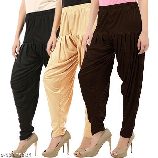 Buy That Trendz Combo Offer Pack of 3 Cotton Viscose Lycra Dhoti Patiyala Salwar Harem Bottoms Pants for Womens Black Light Skin Chocolate Brown