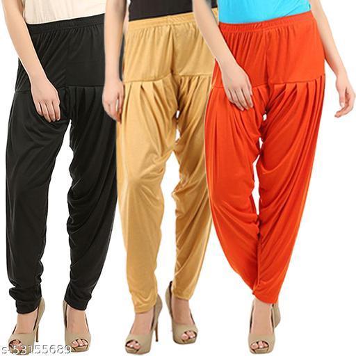 Buy That Trendz Combo Offer Pack of 3 Cotton Viscose Lycra Dhoti Patiyala Salwar Harem Bottoms Pants for Womens Black Dark Skin Orange
