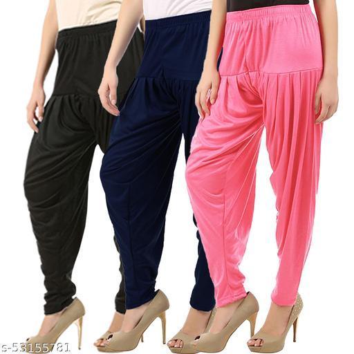 Buy That Trendz Combo Offer Pack of 3 Cotton Viscose Lycra Dhoti Patiyala Salwar Harem Bottoms Pants for Womens Black Navy Rose