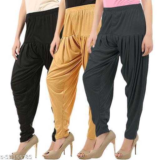 Buy That Trendz Combo Offer Pack of 3 Cotton Viscose Lycra Dhoti Patiyala Salwar Harem Bottoms Pants for Womens Black Dark Skin Dark Grey